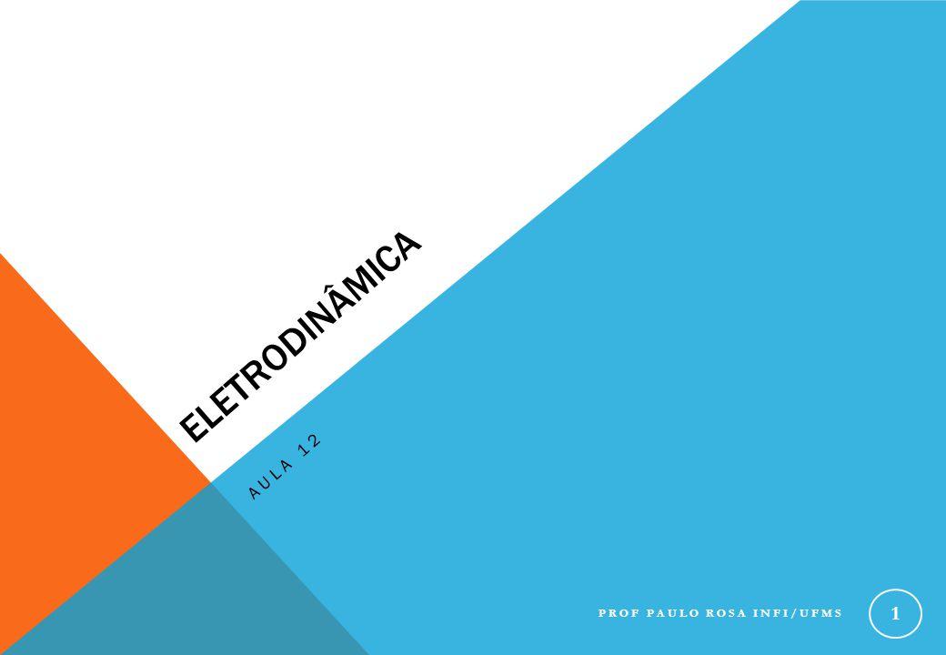 FORÇA ELETROMOTRIZ IV Se considerarmos que a resistência da bateria é nula, então: Trabalho por unidade de carga (fornecido pela bateria) PROF PAULO ROSA INFI/UFMS 12