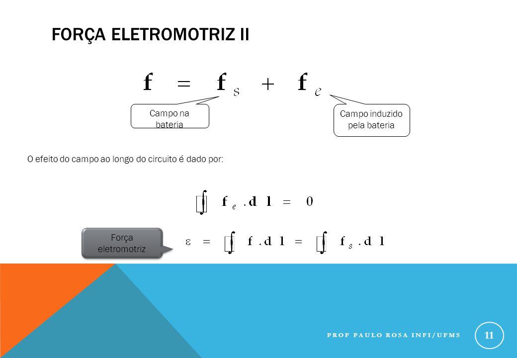 FORÇA ELETROMOTRIZ II Campo na bateria Campo induzido pela bateria O efeito do campo ao longo do circuito é dado por: Força eletromotriz PROF PAULO RO