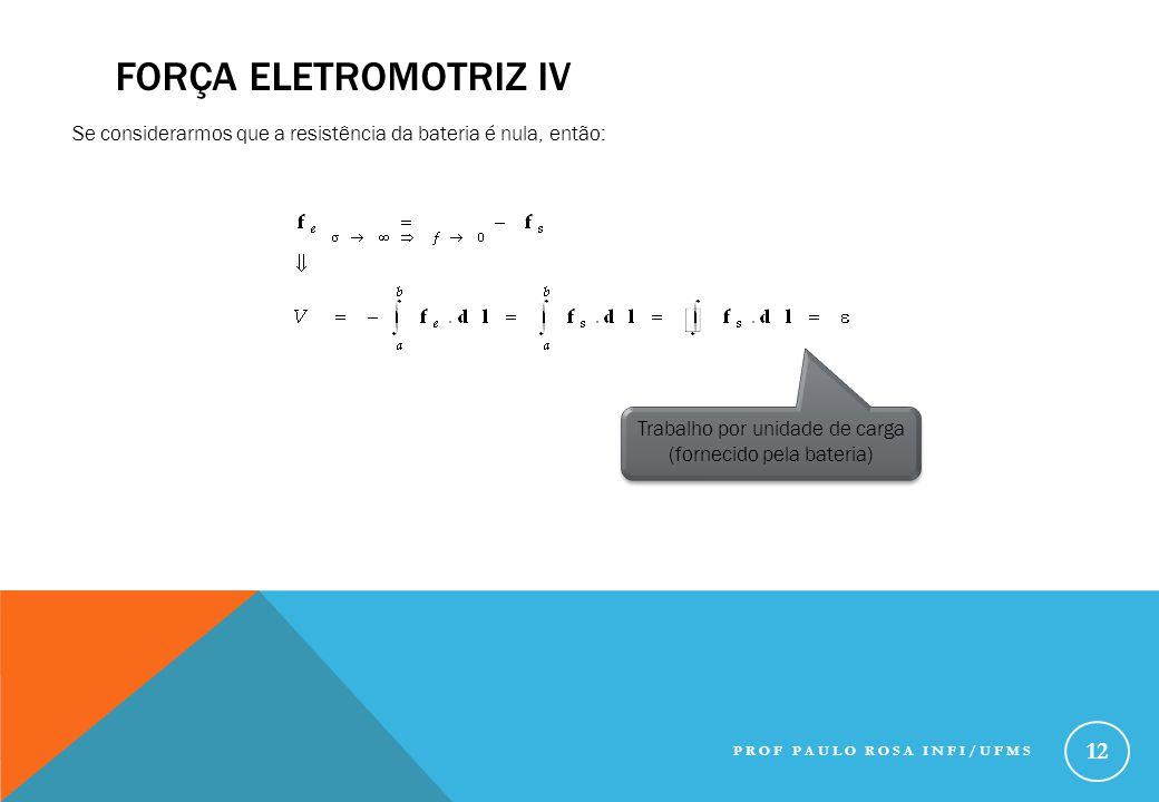 FORÇA ELETROMOTRIZ IV Se considerarmos que a resistência da bateria é nula, então: Trabalho por unidade de carga (fornecido pela bateria) PROF PAULO R