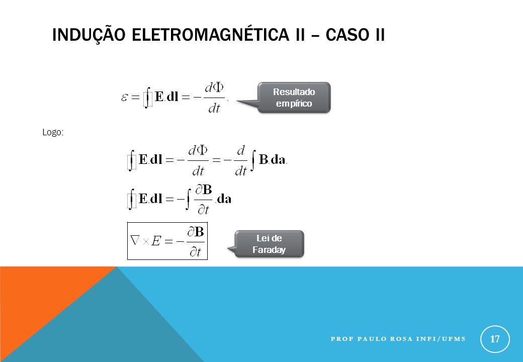 INDUÇÃO ELETROMAGNÉTICA II – CASO II Resultado empírico Logo: Lei de Faraday PROF PAULO ROSA INFI/UFMS 17