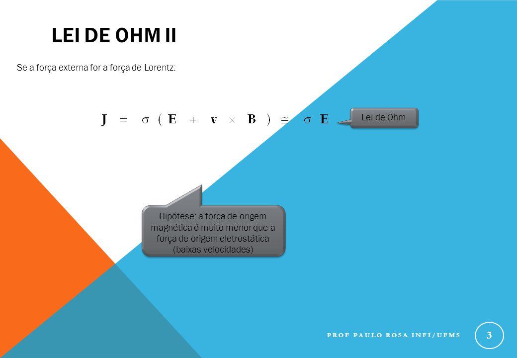 LEI DE OHM III Para condutores: Em condutores basta um campo pequeno para conduzir corrente Para um condutor perfeito:  Para materiais com condutividade finita: PROF PAULO ROSA INFI/UFMS 4