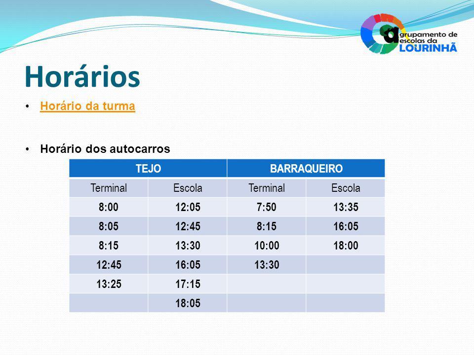Horários Horário da turma Horário dos autocarros TEJOBARRAQUEIRO TerminalEscolaTerminalEscola 8:0012:057:5013:35 8:0512:458:1516:05 8:1513:3010:0018:00 12:4516:0513:30 13:2517:15 18:05