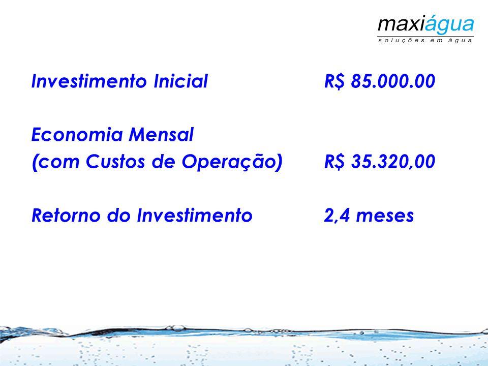 Investimento InicialR$ 85.000.00 Economia Mensal (com Custos de Operação)R$ 35.320,00 Retorno do Investimento2,4 meses