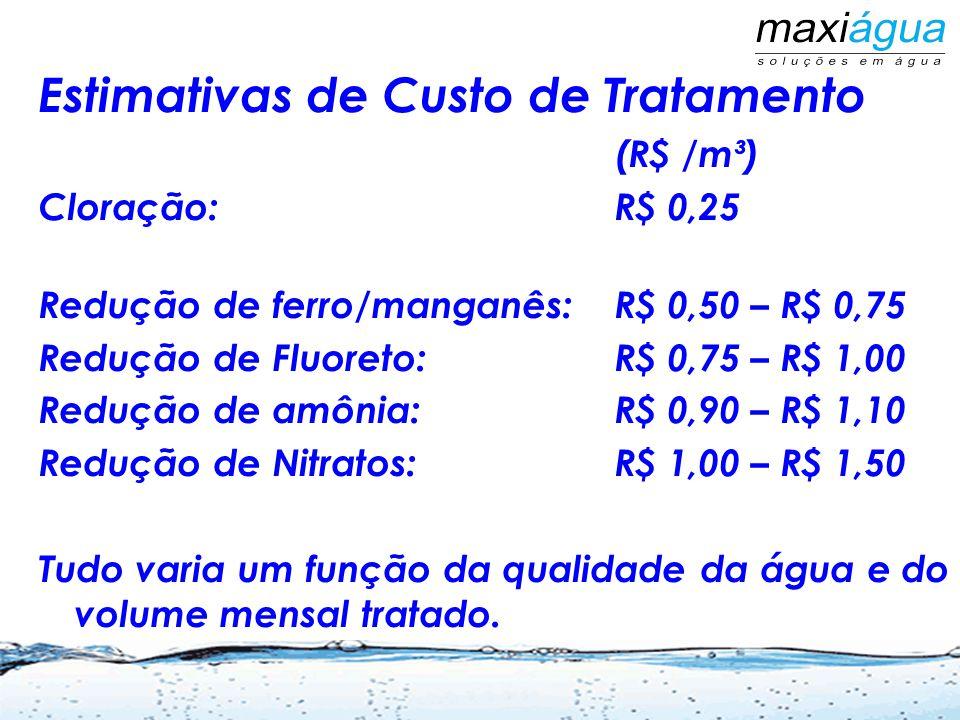 Estimativas de Custo de Tratamento (R$ /m³) Cloração:R$ 0,25 Redução de ferro/manganês:R$ 0,50 – R$ 0,75 Redução de Fluoreto:R$ 0,75 – R$ 1,00 Redução