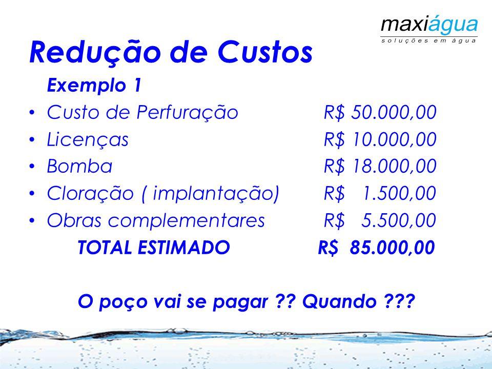 Redução de Custos Exemplo 1 Custo de PerfuraçãoR$ 50.000,00 LicençasR$ 10.000,00 BombaR$ 18.000,00 Cloração ( implantação)R$ 1.500,00 Obras complement