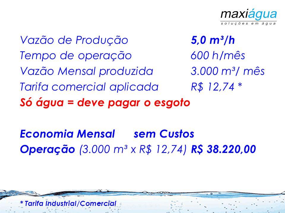 Vazão de Produção 5,0 m³/h Tempo de operação 600 h/mês Vazão Mensal produzida 3.000 m³/ mês Tarifa comercial aplicada R$ 12,74 * Só água = deve pagar