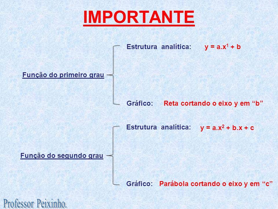 IMPORTANTE Função do primeiro grau Estrutura analítica: Gráfico: Função do segundo grau Estrutura analítica: Gráfico: y = a.x 1 + b Reta cortando o ei