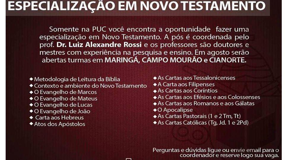 A PUC ABRIRÁ UMA TURMA DE PÓS-GRADUAÇÃO EM BÍBLIA (ESPECIALIZAÇÃO