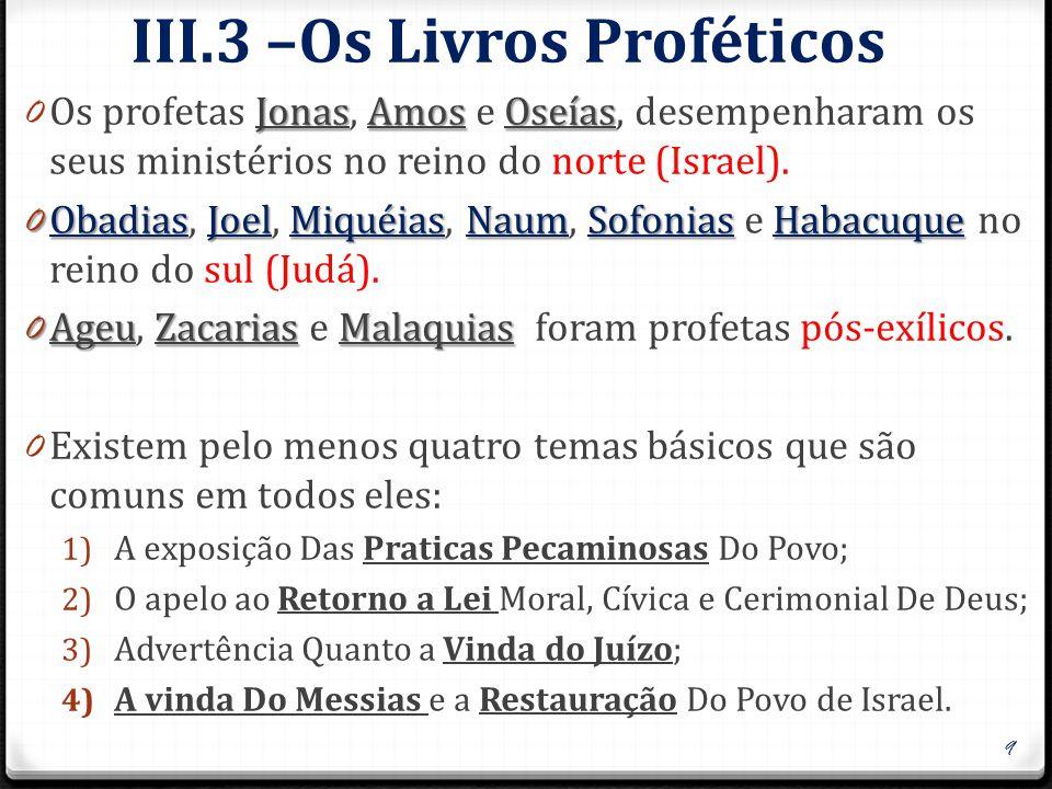 III.3 –Os Livros Proféticos JonasAmosOseías 0 Os profetas Jonas, Amos e Oseías, desempenharam os seus ministérios no reino do norte (Israel). 0 Obadia