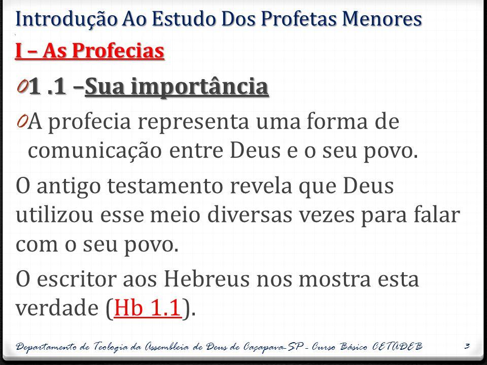 Introdução Ao Estudo Dos Profetas Menores. I – As Profecias 0 1.1 –Sua importância 0 A profecia representa uma forma de comunicação entre Deus e o seu