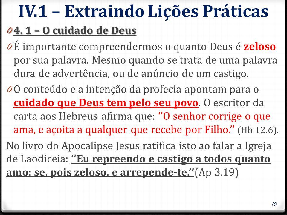IV.1 – Extraindo Lições Práticas 0 4.