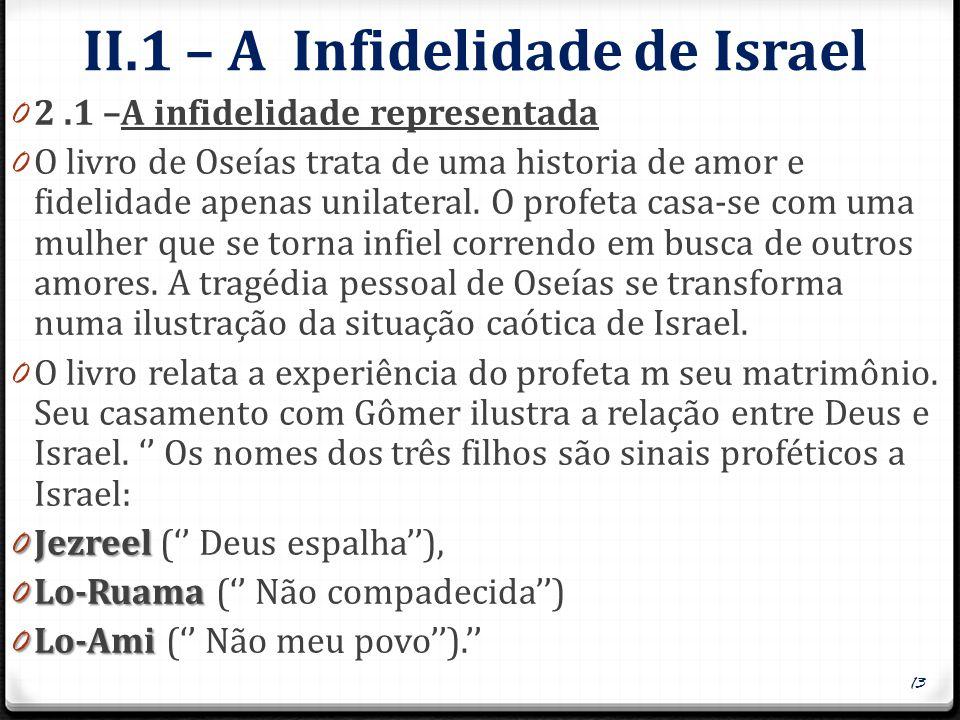 II.1 – A Infidelidade de Israel 0 2.1 –A infidelidade representada 0 O livro de Oseías trata de uma historia de amor e fidelidade apenas unilateral. O