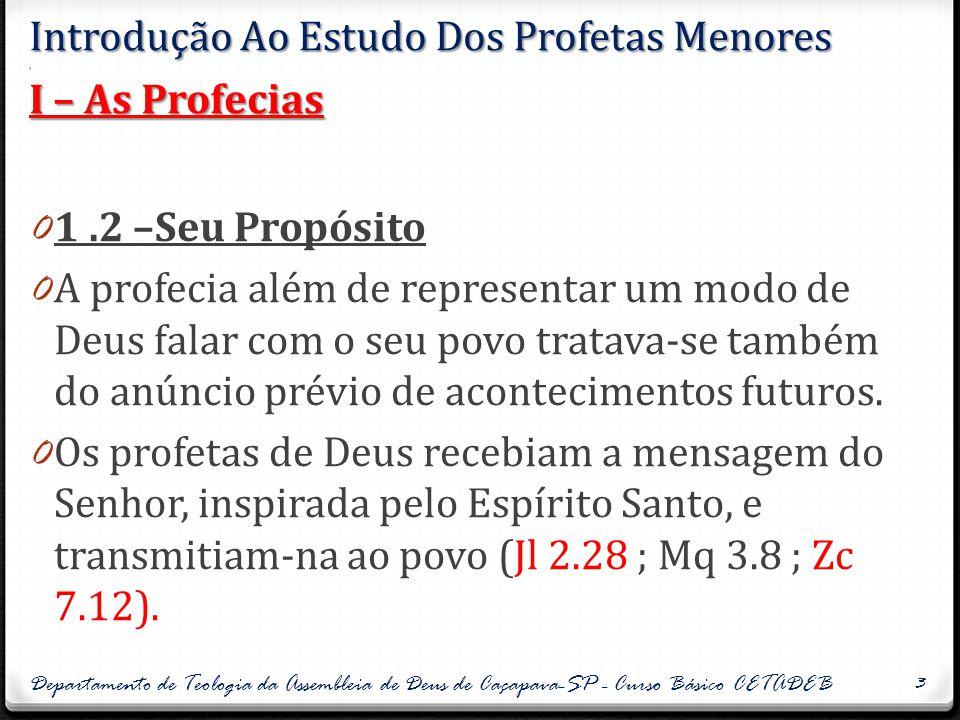 Introdução Ao Estudo Dos Profetas Menores. I – As Profecias 0 1.2 –Seu Propósito 0 A profecia além de representar um modo de Deus falar com o seu povo