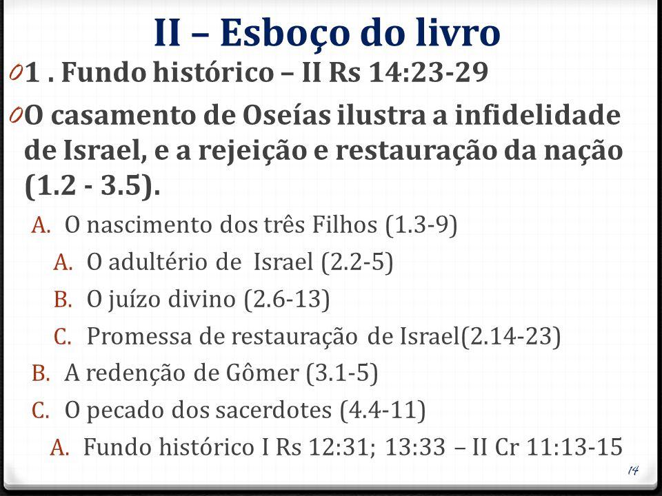 II – Esboço do livro 0 1. Fundo histórico – II Rs 14:23-29 0 O casamento de Oseías ilustra a infidelidade de Israel, e a rejeição e restauração da naç