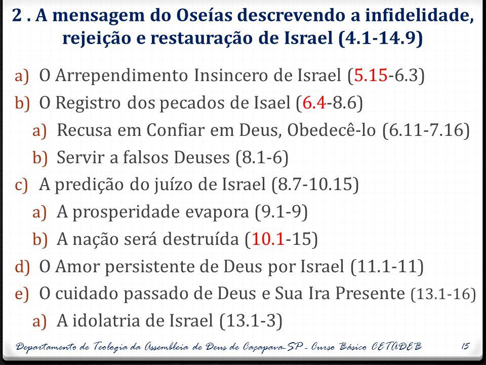 2. A mensagem do Oseías descrevendo a infidelidade, rejeição e restauração de Israel (4.1-14.9) a) O Arrependimento Insincero de Israel (5.15-6.3) b)