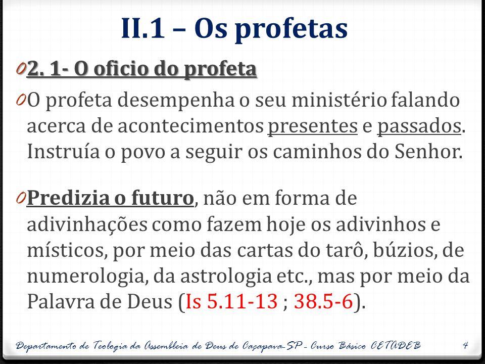 II.1 – Os profetas 0 2. 1- O oficio do profeta 0 O profeta desempenha o seu ministério falando acerca de acontecimentos presentes e passados. Instruía