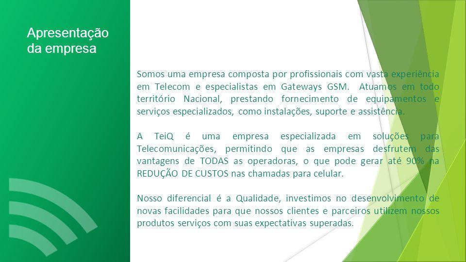 Apresentação da empresa Somos uma empresa composta por profissionais com vasta experiência em Telecom e especialistas em Gateways GSM.
