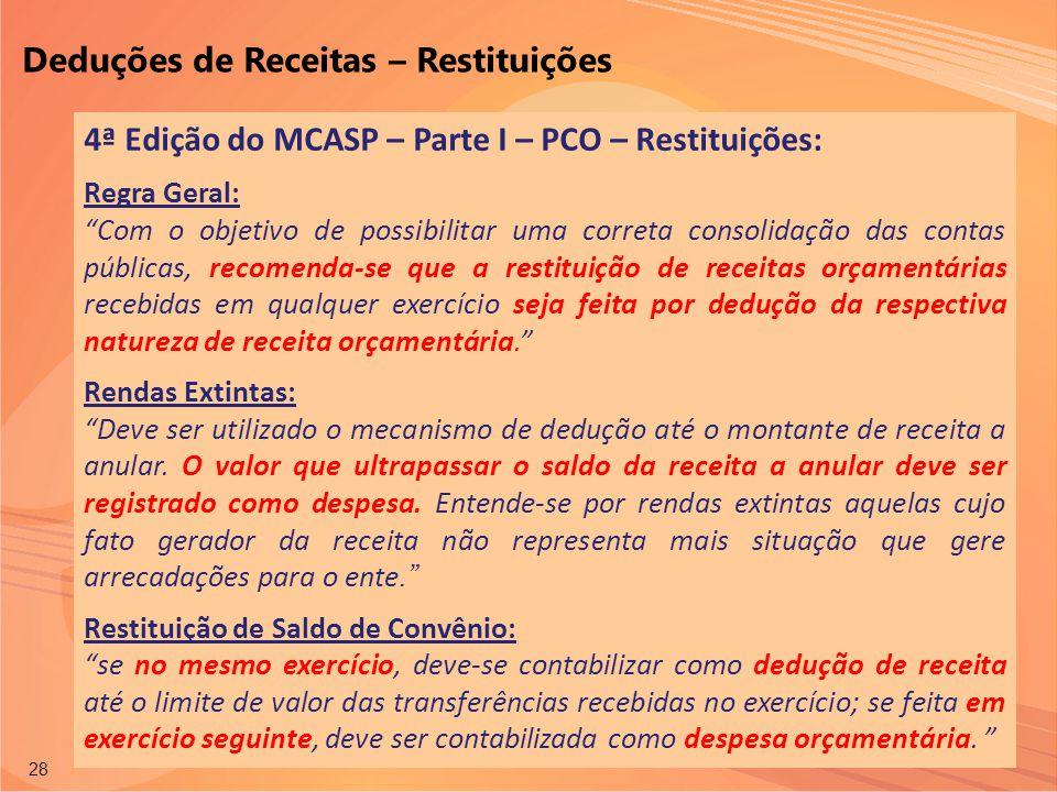 Permitida a reprodução total ou parcial desta publicação desde que citada a fonte. 28 4ª Edição do MCASP – Parte I – PCO – Restituições: Regra Geral: