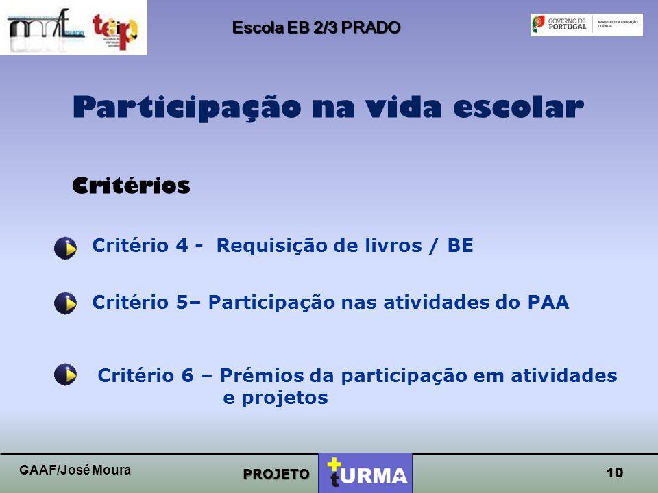 9 Escola EB 2/3 PRADO PROJETO Sucesso escolar Critérios Critério 1 - Média das notas/níveis obtidos Critério 2 – Mérito / Excelência Critério 3 – Assi