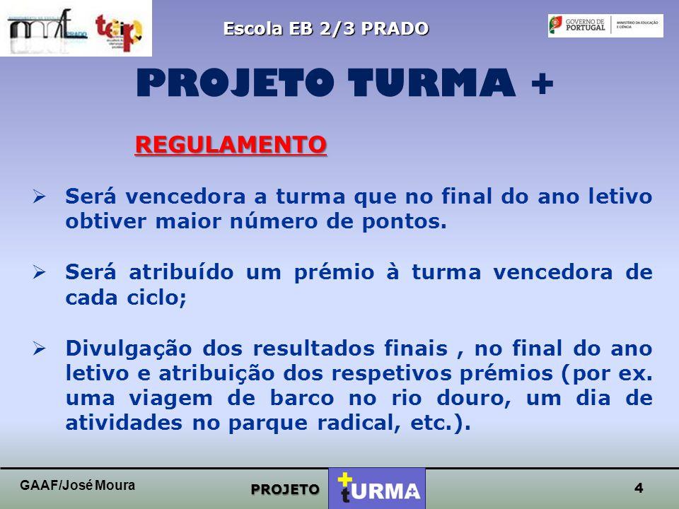 3 Escola EB 2/3 PRADO PROJETO PROJETO TURMA + GAAF/José Moura OBJETIVOS  Fomentar o gosto pela leitura;  Promover o sentido de cooperação, apoio e i