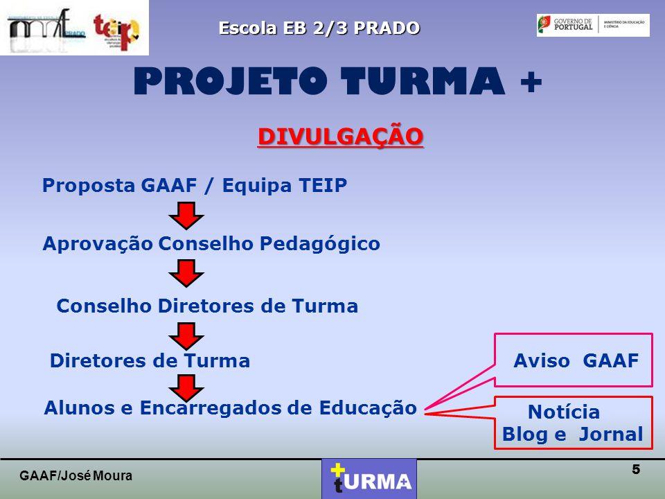 4 Escola EB 2/3 PRADO PROJETO PROJETO TURMA + GAAF/José Moura REGULAMENTO  Será vencedora a turma que no final do ano letivo obtiver maior número de