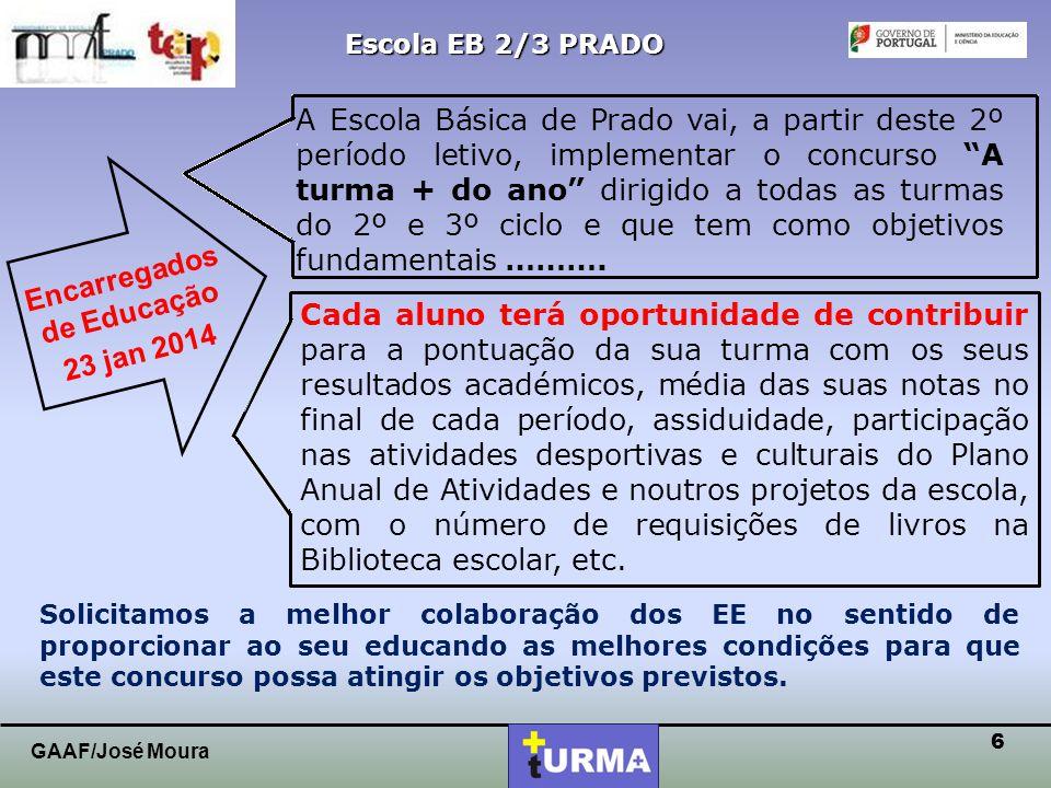 5 Escola EB 2/3 PRADO GAAF/José Moura PROJETO TURMA + DIVULGAÇÃO Proposta GAAF / Equipa TEIP Aprovação Conselho Pedagógico Conselho Diretores de Turma