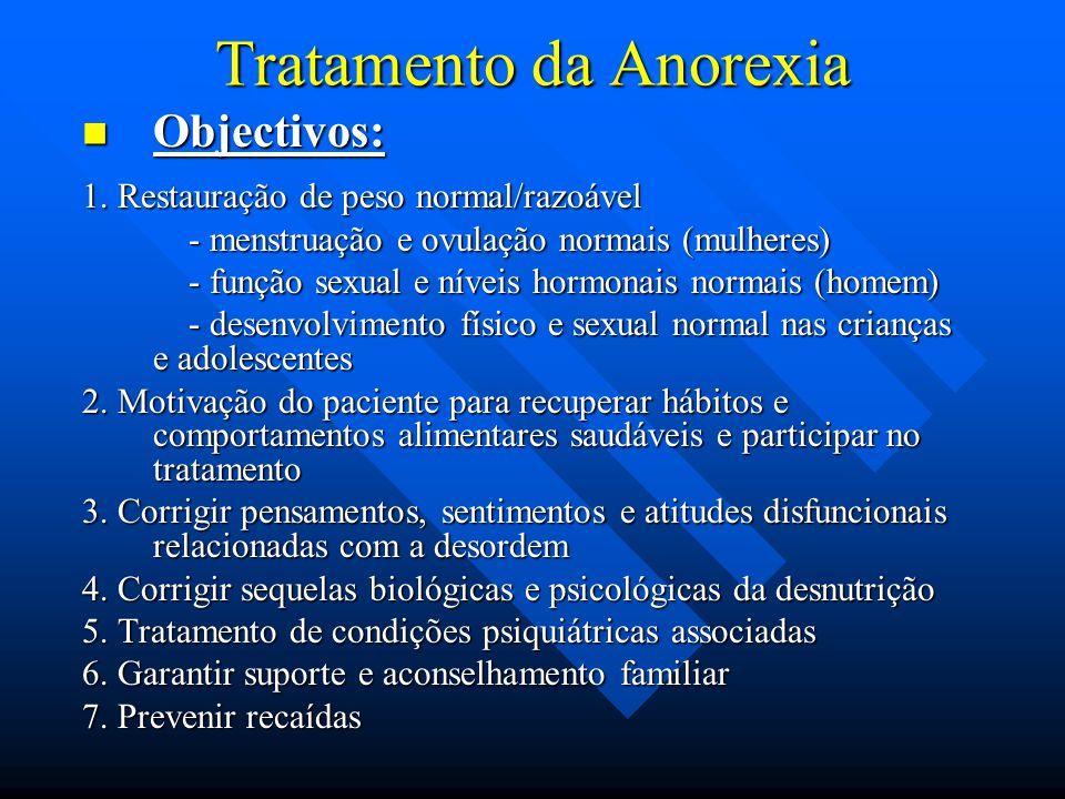 Tratamento da Anorexia Objectivos: Objectivos: 1. Restauração de peso normal/razoável - menstruação e ovulação normais (mulheres) - função sexual e ní