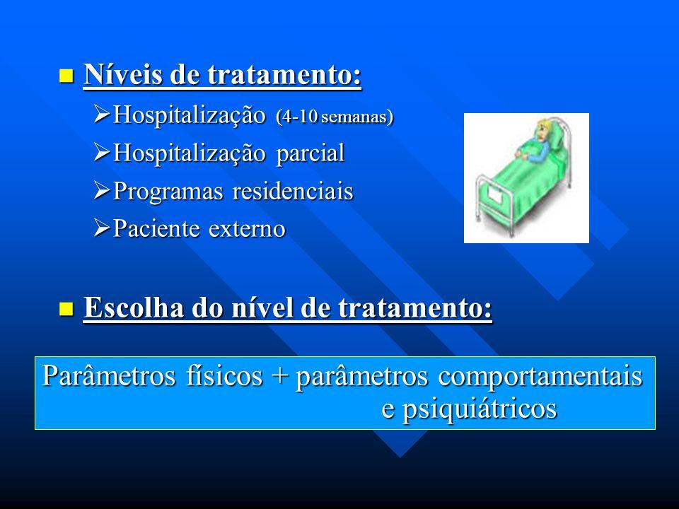 Níveis de tratamento: Níveis de tratamento:  Hospitalização (4-10 semanas)  Hospitalização parcial  Programas residenciais  Paciente externo Escol