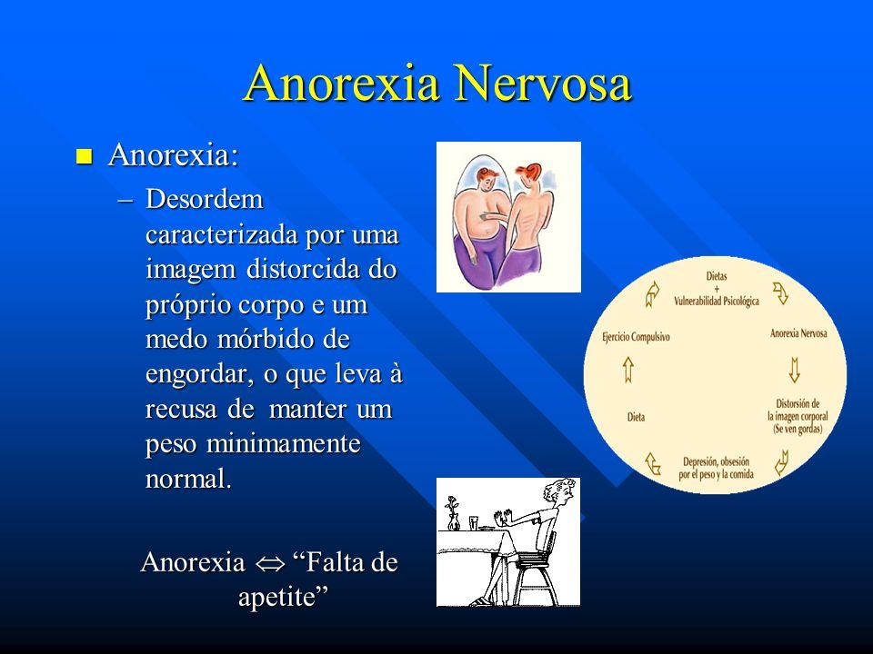 Anorexia Nervosa Anorexia: Anorexia: –Desordem caracterizada por uma imagem distorcida do próprio corpo e um medo mórbido de engordar, o que leva à re