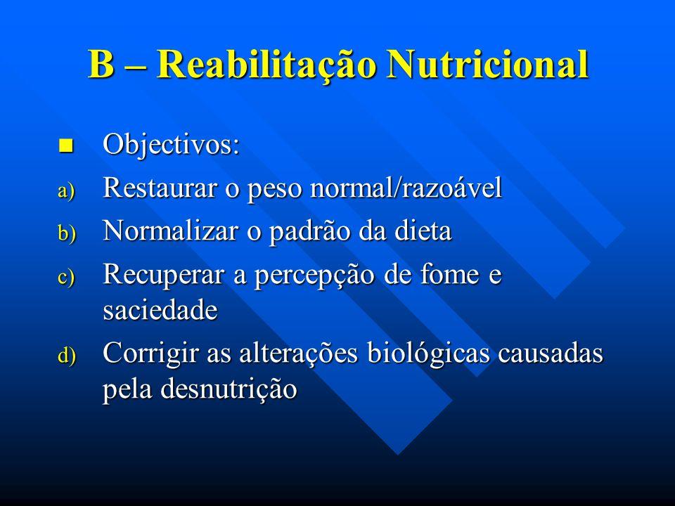 B – Reabilitação Nutricional Objectivos: Objectivos: a) Restaurar o peso normal/razoável b) Normalizar o padrão da dieta c) Recuperar a percepção de f