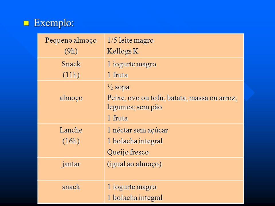 Exemplo: Exemplo: Pequeno almoço (9h) 1/5 leite magro Kellogs K Snack(11h) 1 iogurte magro 1 fruta almoço ½ sopa Peixe, ovo ou tofu; batata, massa ou
