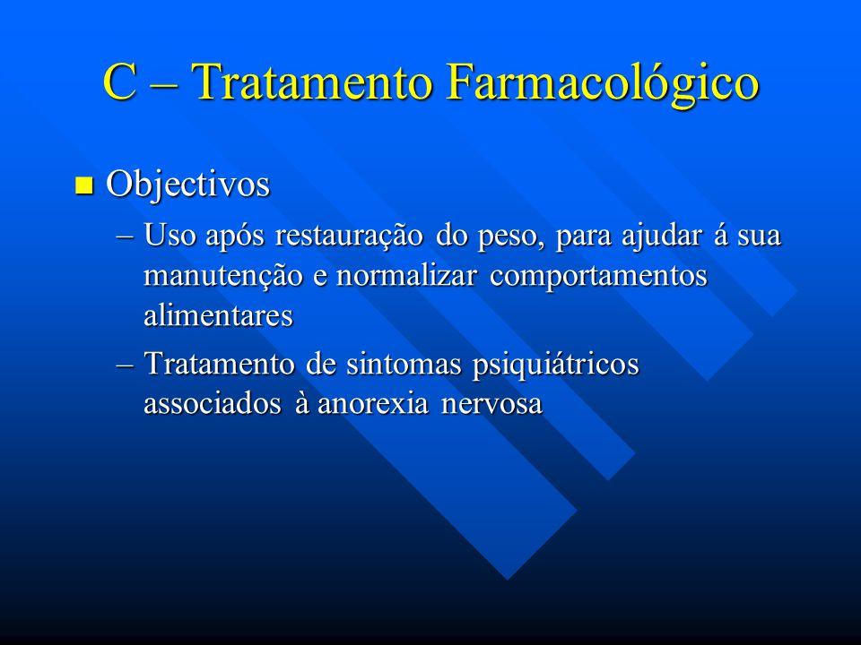 C – Tratamento Farmacológico Objectivos Objectivos –Uso após restauração do peso, para ajudar á sua manutenção e normalizar comportamentos alimentares