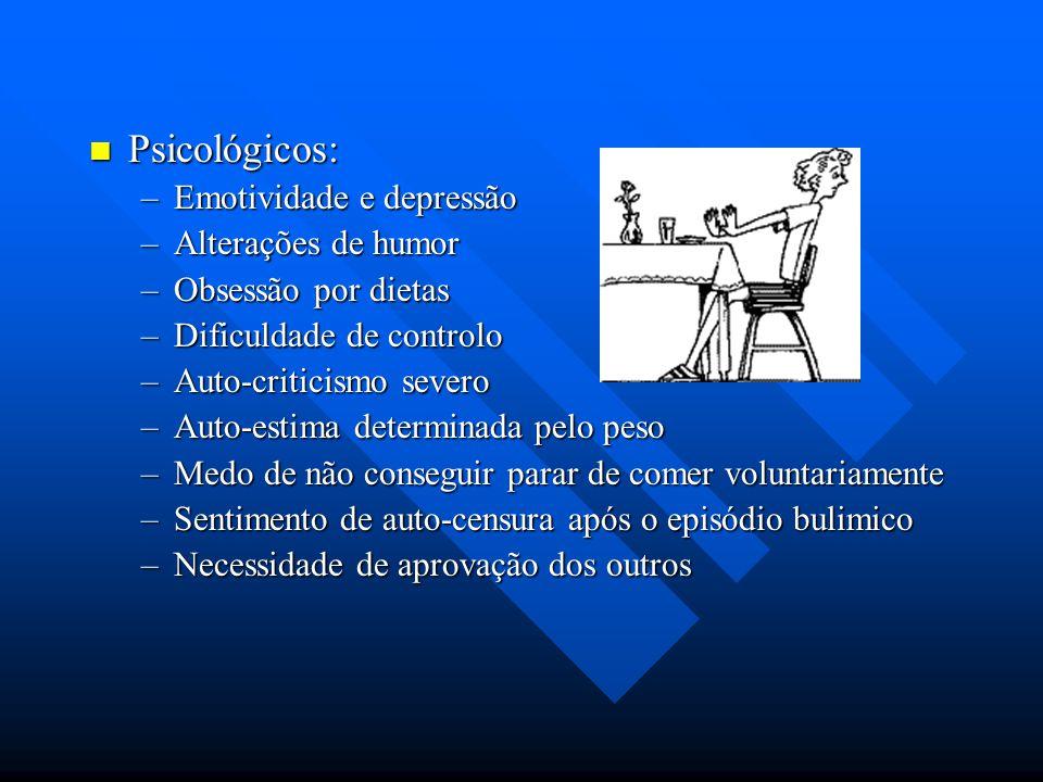 Psicológicos: Psicológicos: –Emotividade e depressão –Alterações de humor –Obsessão por dietas –Dificuldade de controlo –Auto-criticismo severo –Auto-
