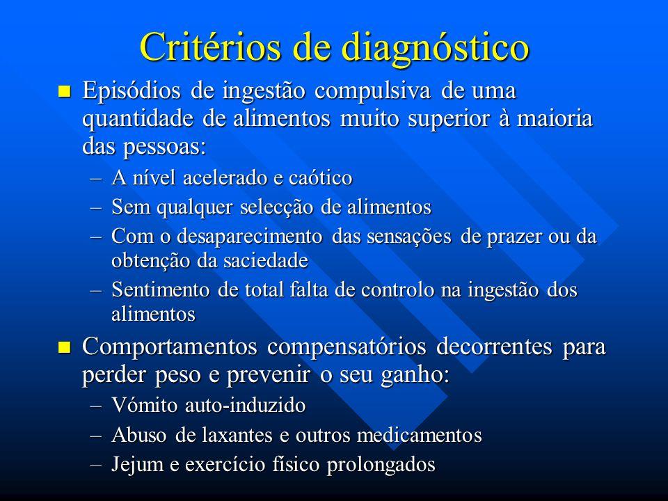 Critérios de diagnóstico Episódios de ingestão compulsiva de uma quantidade de alimentos muito superior à maioria das pessoas: Episódios de ingestão c