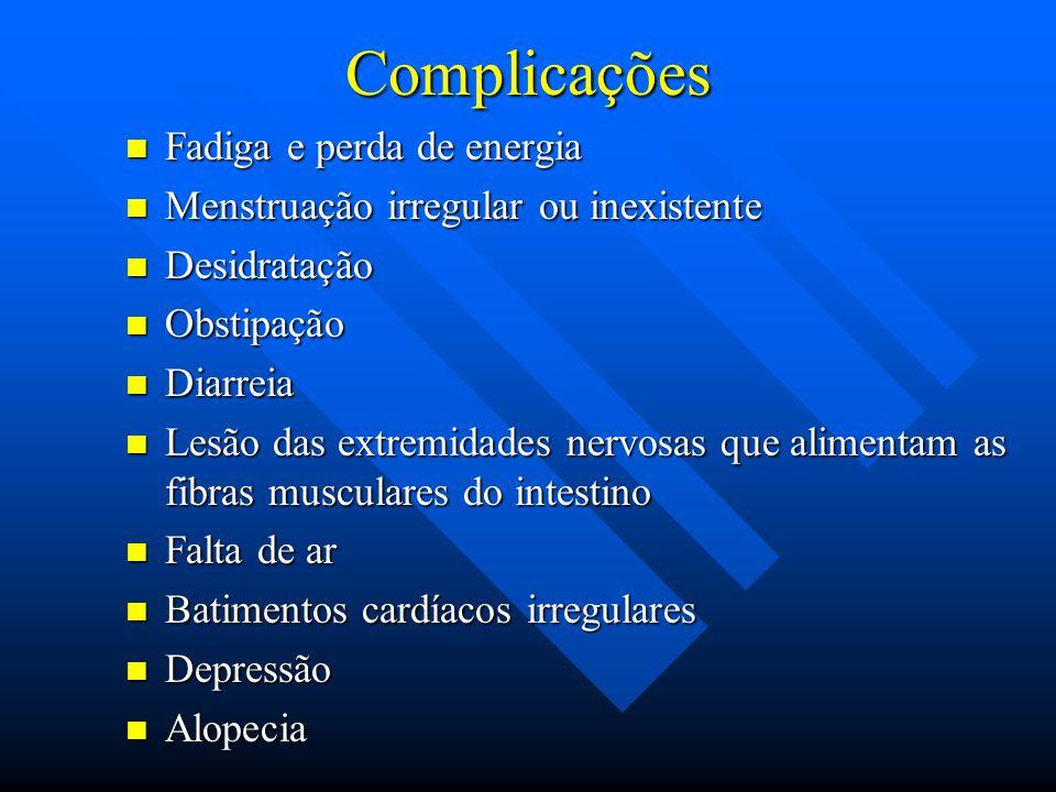 Complicações Fadiga e perda de energia Fadiga e perda de energia Menstruação irregular ou inexistente Menstruação irregular ou inexistente Desidrataçã