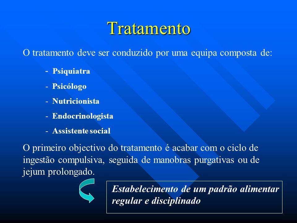 Tratamento O tratamento deve ser conduzido por uma equipa composta de: - Psiquiatra - Psicólogo - Nutricionista - Endocrinologista - Assistente social