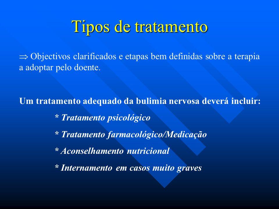 Tipos de tratamento  Objectivos clarificados e etapas bem definidas sobre a terapia a adoptar pelo doente. Um tratamento adequado da bulimia nervosa
