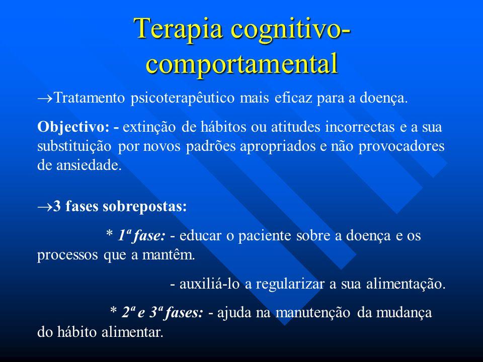 Terapia cognitivo- comportamental  Tratamento psicoterapêutico mais eficaz para a doença. Objectivo: - extinção de hábitos ou atitudes incorrectas e