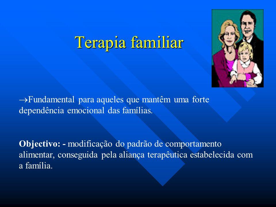 Terapia familiar  Fundamental para aqueles que mantêm uma forte dependência emocional das famílias. Objectivo: - modificação do padrão de comportamen