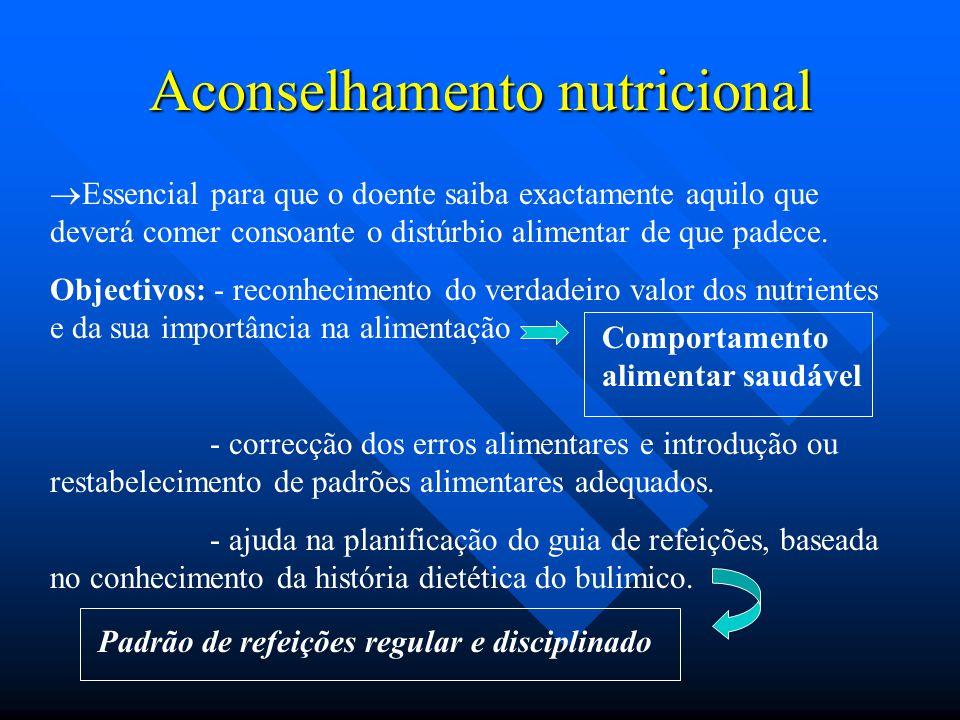 Aconselhamento nutricional  Essencial para que o doente saiba exactamente aquilo que deverá comer consoante o distúrbio alimentar de que padece. Obje