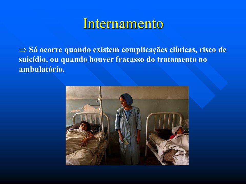 Internamento  Só ocorre quando existem complicações clínicas, risco de suicídio, ou quando houver fracasso do tratamento no ambulatório.