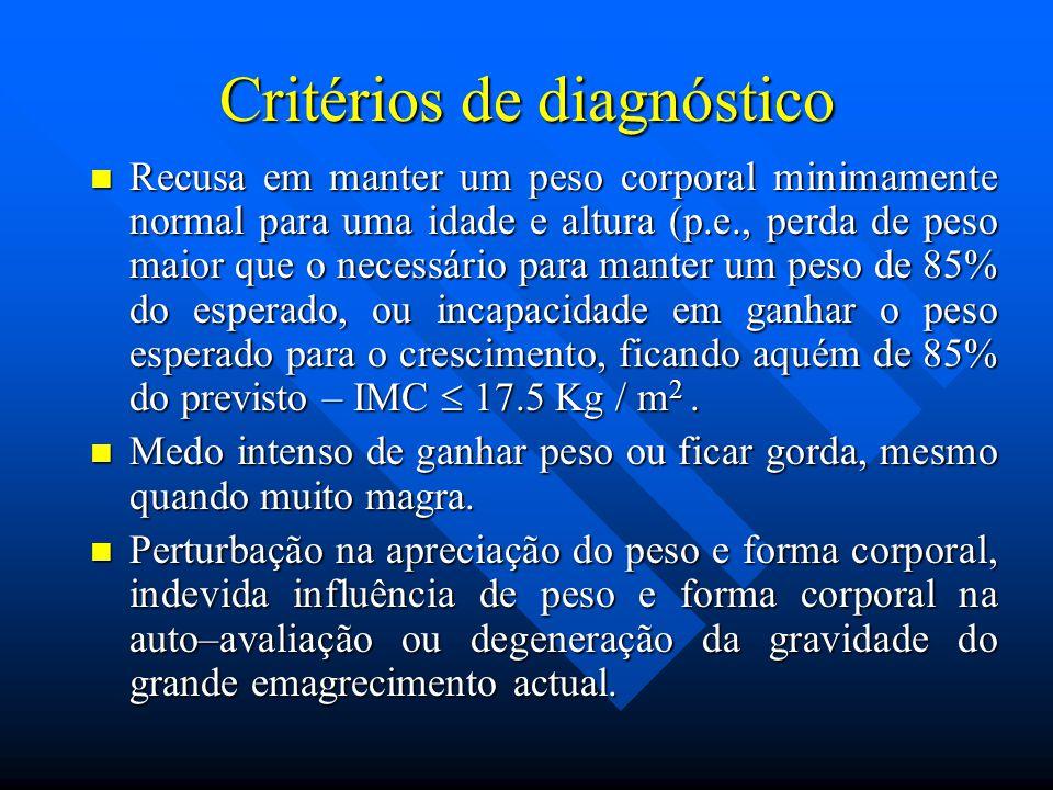 Critérios de diagnóstico Recusa em manter um peso corporal minimamente normal para uma idade e altura (p.e., perda de peso maior que o necessário para