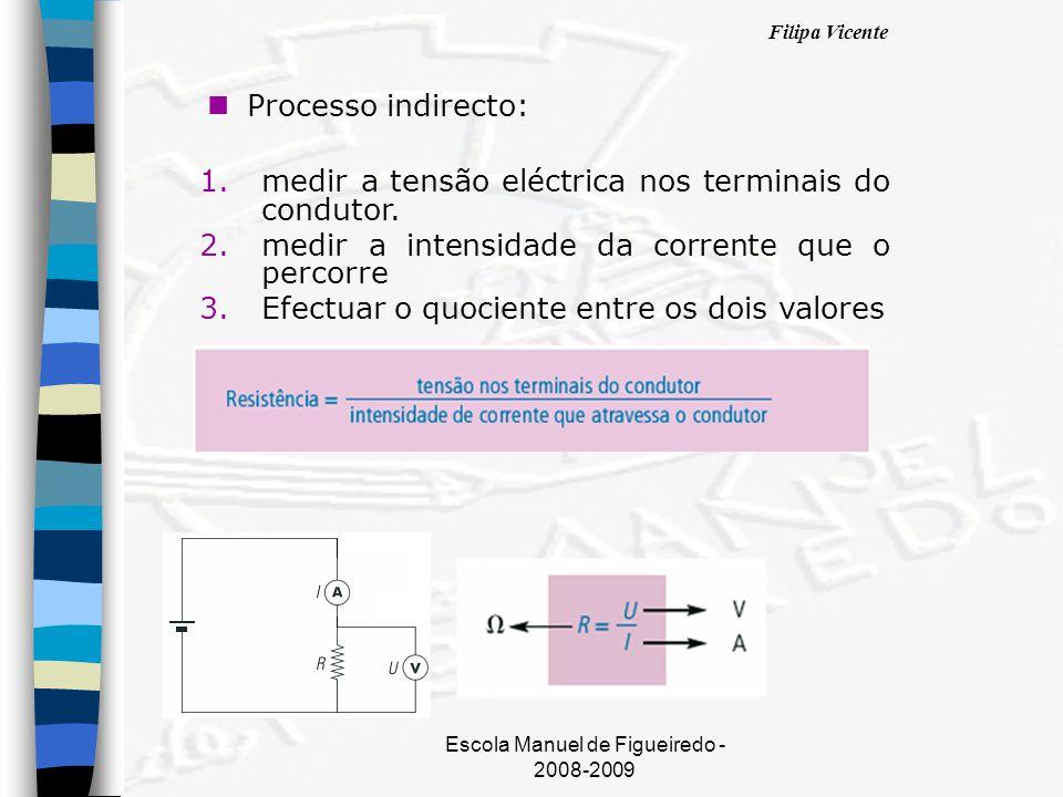 Filipa Vicente Escola Manuel de Figueiredo - 2008-2009 nPnProcesso indirecto: 1.medir a tensão eléctrica nos terminais do condutor. 2.medir a intensid