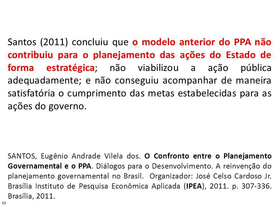 22 Santos (2011) concluiu que o modelo anterior do PPA não contribuiu para o planejamento das ações do Estado de forma estratégica; não viabilizou a ação pública adequadamente; e não conseguiu acompanhar de maneira satisfatória o cumprimento das metas estabelecidas para as ações do governo.