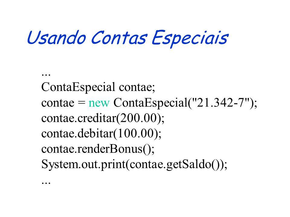 Redefinição de Métodos Invariância: tipos dos argumentos e resultados da redefinição tem que ser iguais aos tipos da definição Semântica e Visibilidade dos métodos redefinidos deve ser preservada Só é possível acessar a definição dos métodos da superclasse imediata (via super)