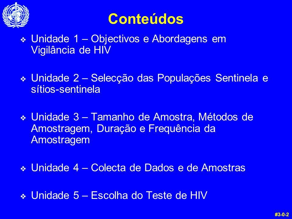 Conteúdos  Unidade 1 – Objectivos e Abordagens em Vigilância de HIV  Unidade 2 – Selecção das Populações Sentinela e sítios-sentinela  Unidade 3 – Tamanho de Amostra, Métodos de Amostragem, Duração e Frequência da Amostragem  Unidade 4 – Colecta de Dados e de Amostras  Unidade 5 – Escolha do Teste de HIV #3-0-2