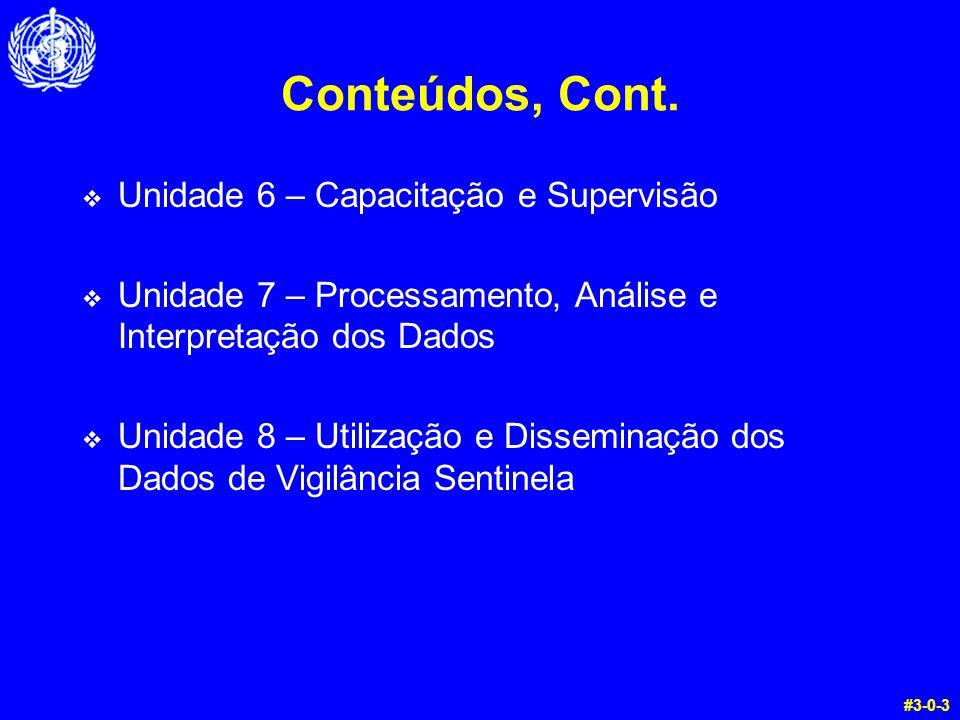 Conteúdos, Cont.  Unidade 6 – Capacitação e Supervisão  Unidade 7 – Processamento, Análise e Interpretação dos Dados  Unidade 8 – Utilização e Diss