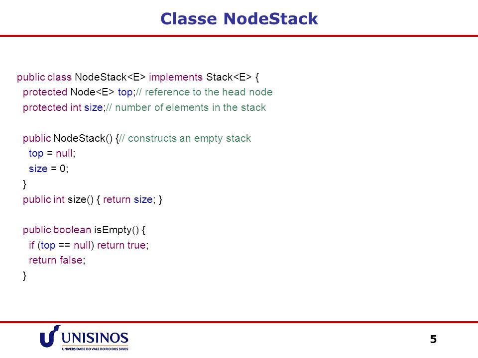 Classe NodeStack (cont.) public void push(E elem) { Node v = new Node (elem, top);// create and link-in a new node top = v; size++; } public E top() throws EmptyStackException { if (isEmpty()) throw new EmptyStackException( Stack is empty. ); return top.getElement(); } public E pop() throws EmptyStackException { if (isEmpty()) throw new EmptyStackException( Stack is empty. ); E temp = top.getElement(); top = top.getNext();// link-out the former top node size--; return temp; }
