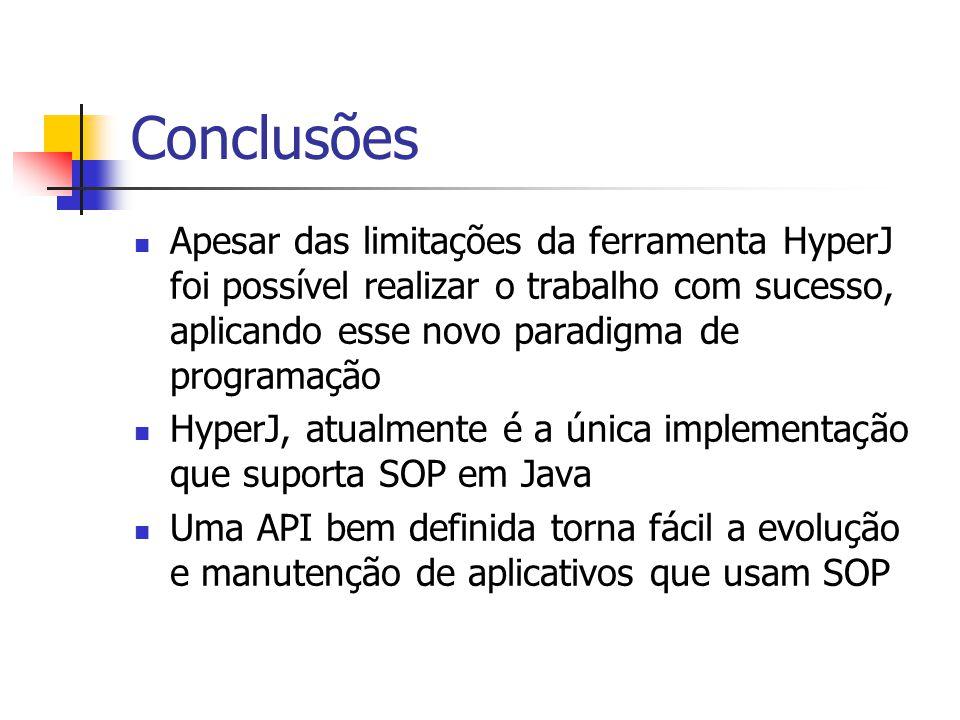 Conclusões Apesar das limitações da ferramenta HyperJ foi possível realizar o trabalho com sucesso, aplicando esse novo paradigma de programação HyperJ, atualmente é a única implementação que suporta SOP em Java Uma API bem definida torna fácil a evolução e manutenção de aplicativos que usam SOP