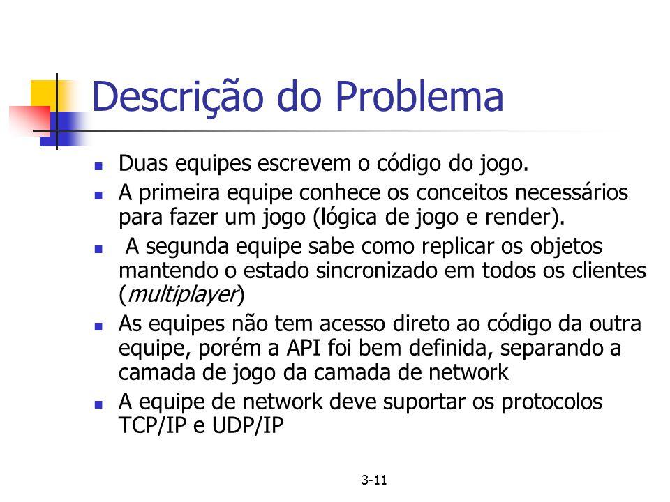 3-11 Descrição do Problema Duas equipes escrevem o código do jogo. A primeira equipe conhece os conceitos necessários para fazer um jogo (lógica de jo